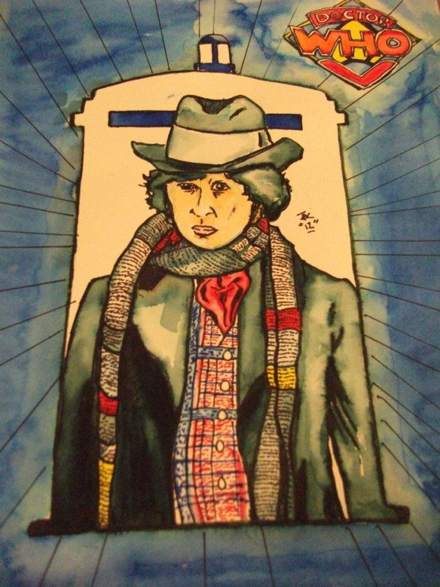 A marker wash I did for my girlfriend (she's an avid Dr. Who fan) of the 4th Doctor. I used a marker wash as a base and then added different effects with other kinds of markers.