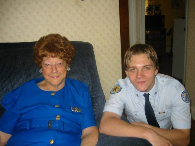 "Chad with our great grandmother. We called her ""Nana""."