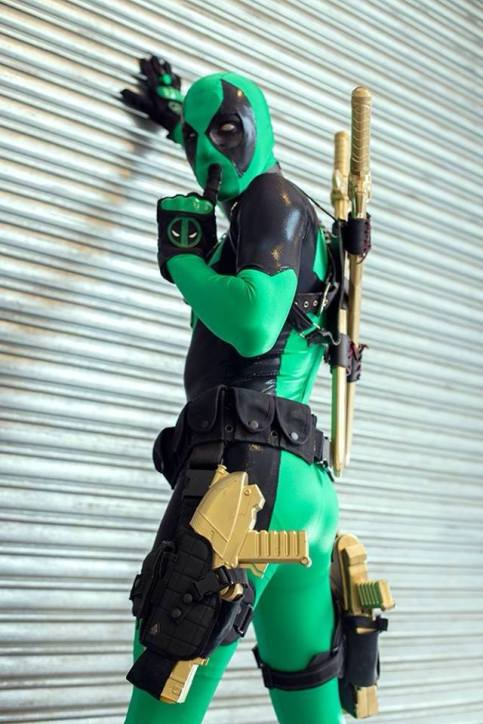 James Ryan Jwanoswki cosplaying as Death Wish (Green Deadpool). Photo by Nate Buchanan.