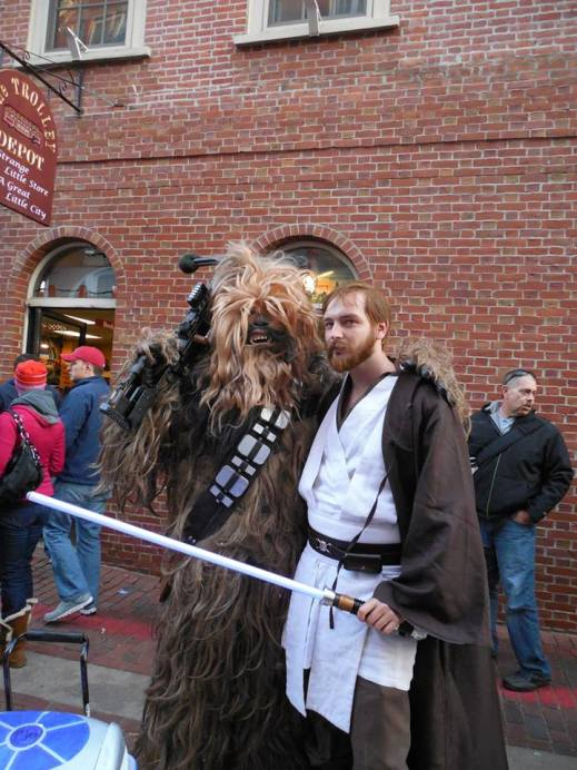 Me as Obi-Wan Kenobi from Star Wars: Episode III with Chewbacca.