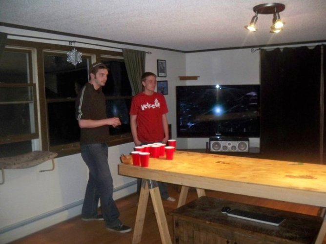 Me and Alex playing beer pong.