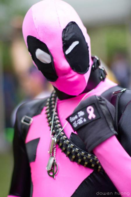 James Ryan Jwanowski as a breast cancer - fighting Deadpool.
