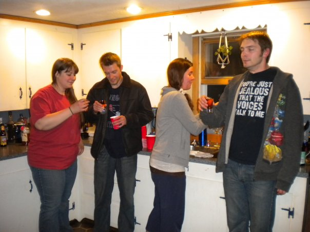 My brother Gary on the left doing shots with me (I'm on the far right) a few years back at a house party.