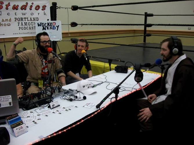 Me as Obi-Wan with the guys from the Wicked Nerdy Podcast.