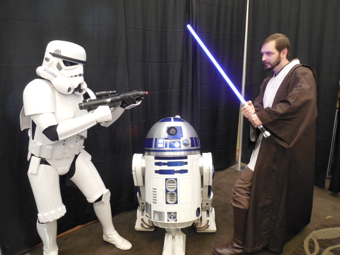 I met R2D2 and defended him from a stormtrooper who was a member of the 501st.