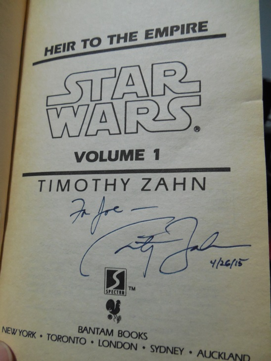 Timothy Zahn signed my copy of Heir To The Empire for free. Awesome guy.