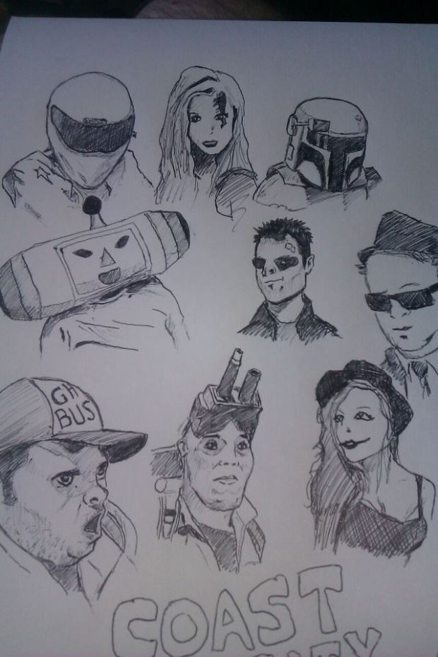 A drawing I did of some of the characters from Coast City Comicon. Linsey is on the top right as Boba Fett (Or, Booba Fett as she called herself)