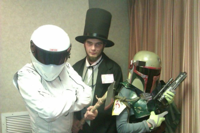 Me as Abraham Lincoln next to Linsey and The Stig, her former boyfriend.