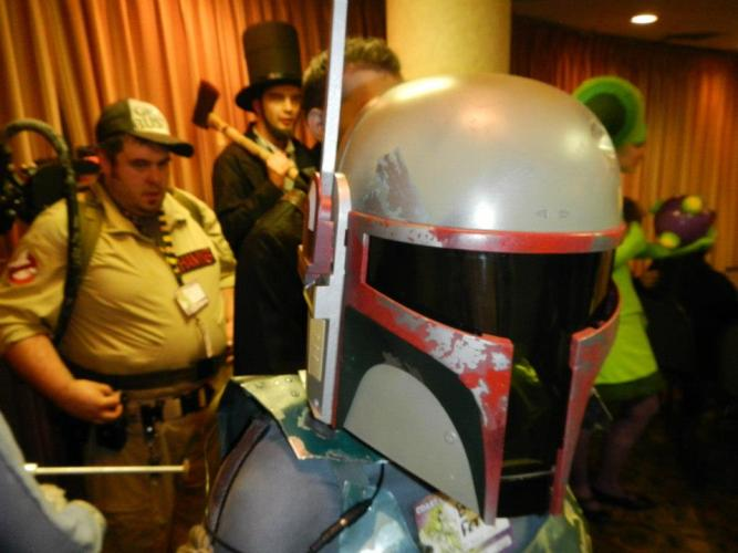 From the back room where the costume contest was taking place, when I first spoke with Linsey. I am in the back as Abraham Lincoln, she is in the foreground as Boba Fett.