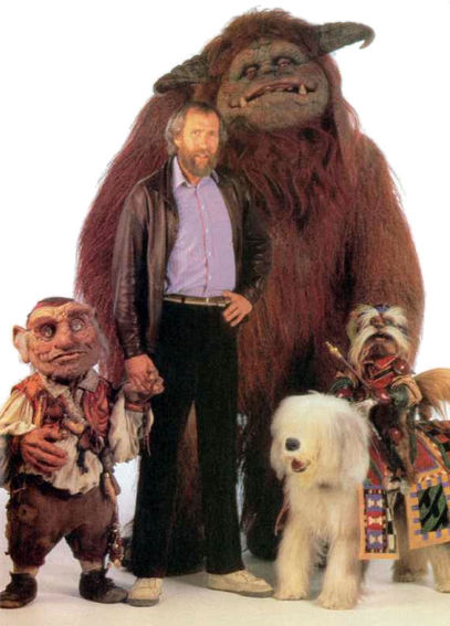 Jim Henson pictured with some of the puppet/animatronic characters from the film.