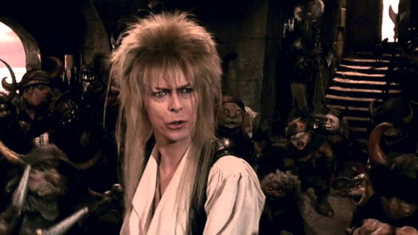 Bowie, as Jareth, performing his song Magic Dance for the film.