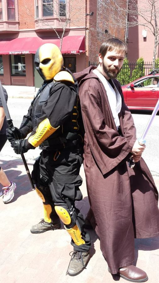 My friend Matt on the left as Slade Wilson, and me on the right as Obi-Wan Kenobi.
