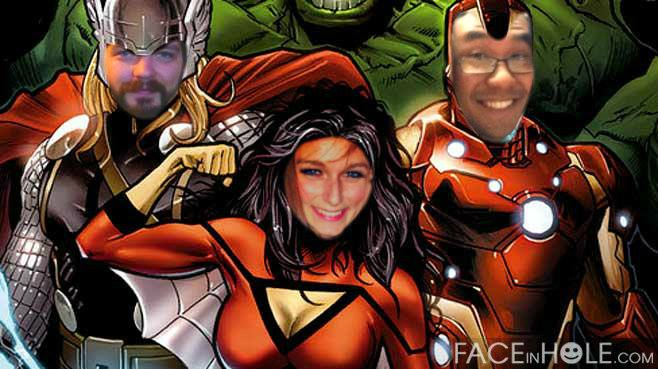An image I doctored after a rough night at work to say that my co-workers were all superheroes. Ariana is in the middle, I'm on the left.
