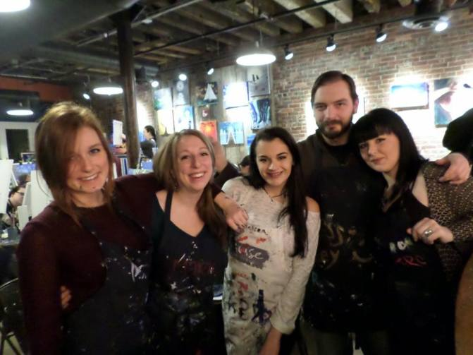 When I went with Ariana (far left) to the Muse Paintbar in Portland, Maine with a bunch of other co-workers.
