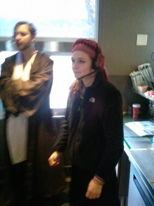 Ariana and me working on Halloween at our old store in Saco, Maine.