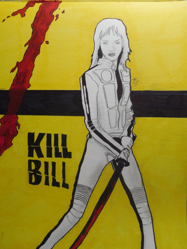 I was assigned Peyton when we were doing Secret Santa at my work. I made her this mixed-media artwork of The Bride from Kill Bill as her gift once I discovered she loves Quentin Tarantino