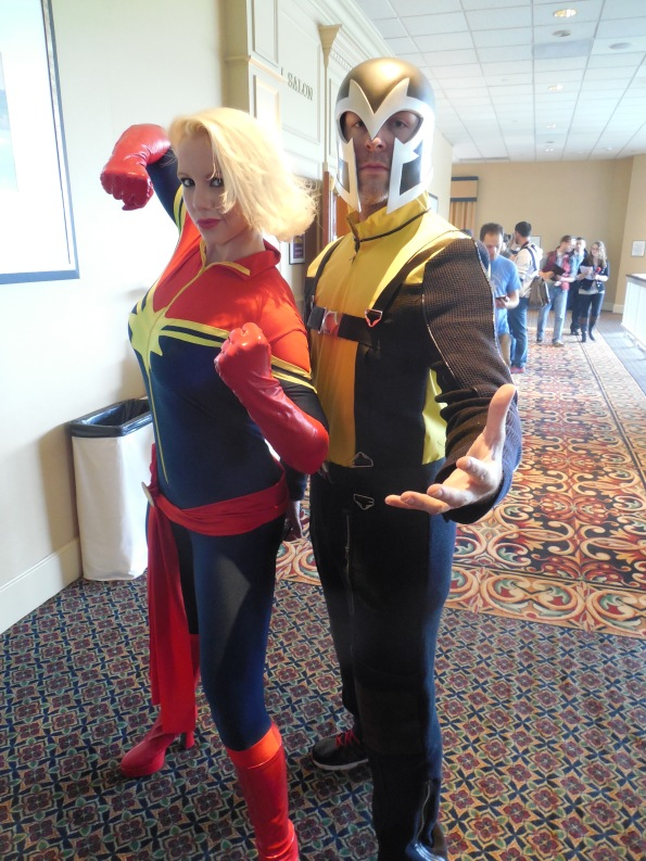 Carol Danvers and Magneto.