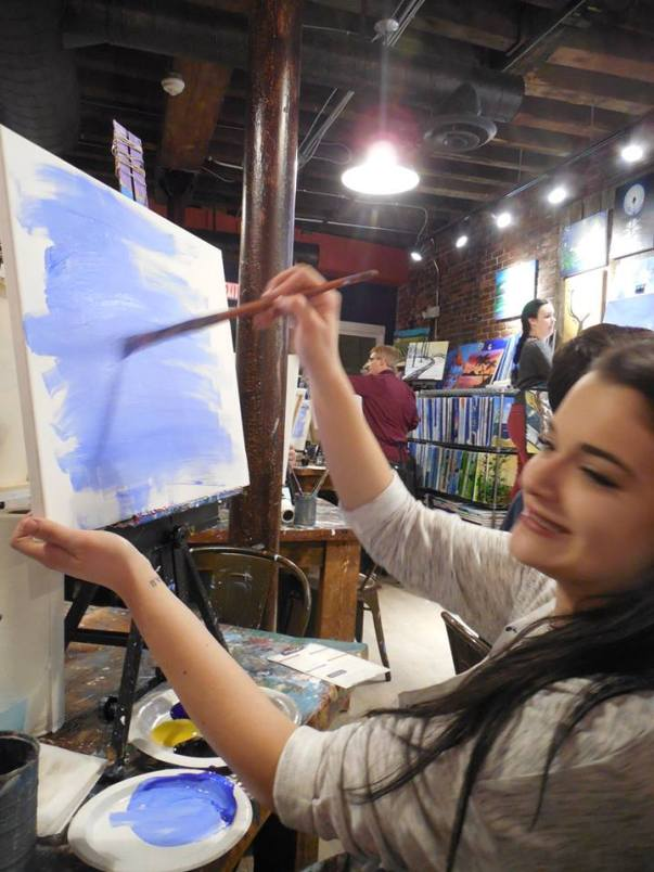 Alicia at the Muse Paint Bar night.