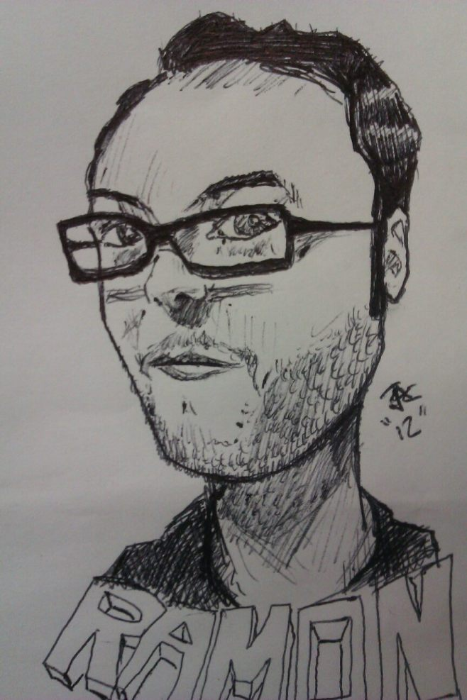 A drawing I did of Ramon for our employee wall at work.