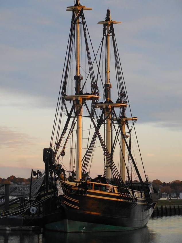 A ship in the calm Salem waters. Good for photo ops and relaxing near to escape the commotion.