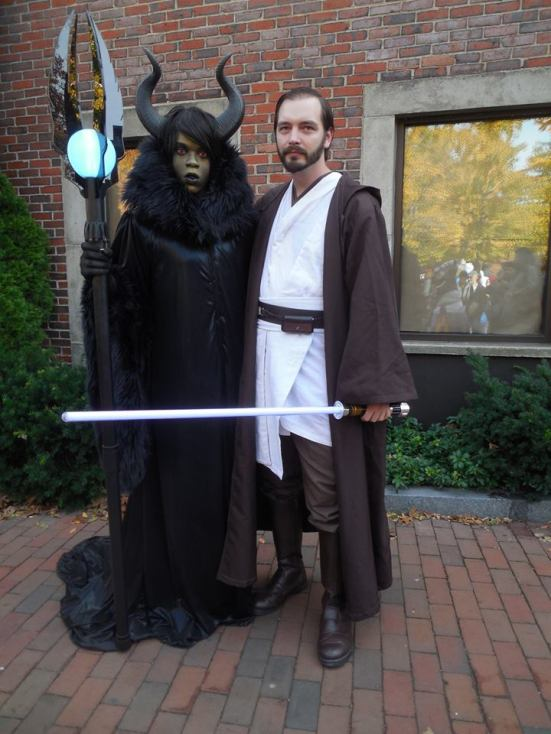 Me (as Obi-Wan) standing with Brandon Clarke (aka Brandon the Shapeshifter Cosplay) in his Supreme Maleficent cosplay