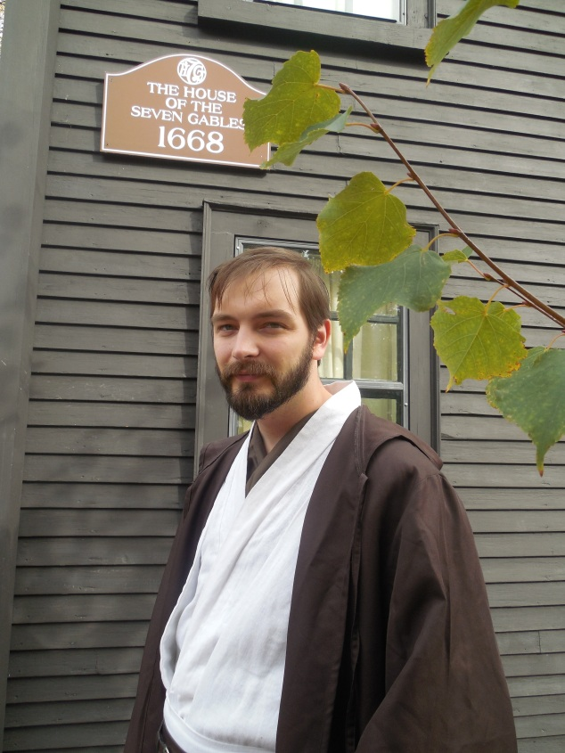 Me (as Obi-Wan Kenobi from Star Wars: Episode III) in front of the House Of Seven Gables, made famous by Nathaniel Hawthorne.