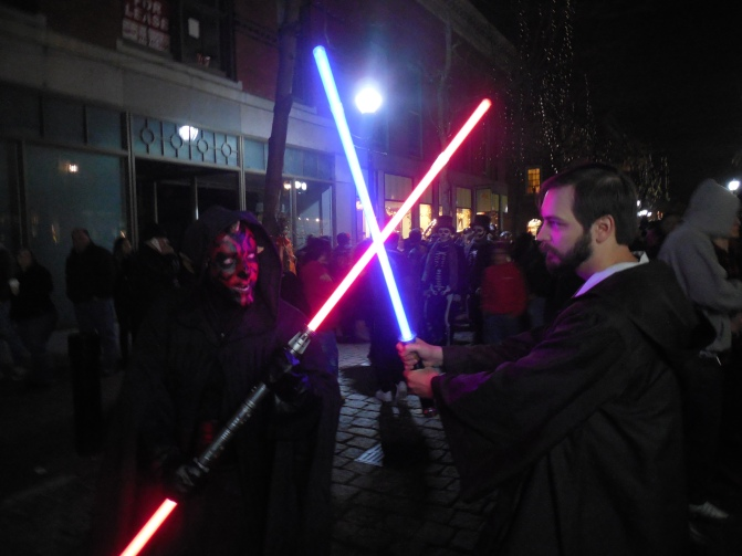 Me with my friend Marcelo (as Darth Maul), whom I met on the streets of Salem before we became friends.
